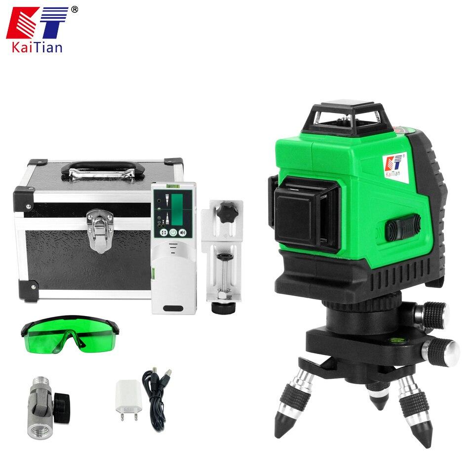 KaiTian Niveau Laser 3D Vert 12 Lignes Récepteur Auto-nivelant 360 Horizontale 532nm Croix Verticale Au Niveau Laser Faisceau x niveaux de ligne