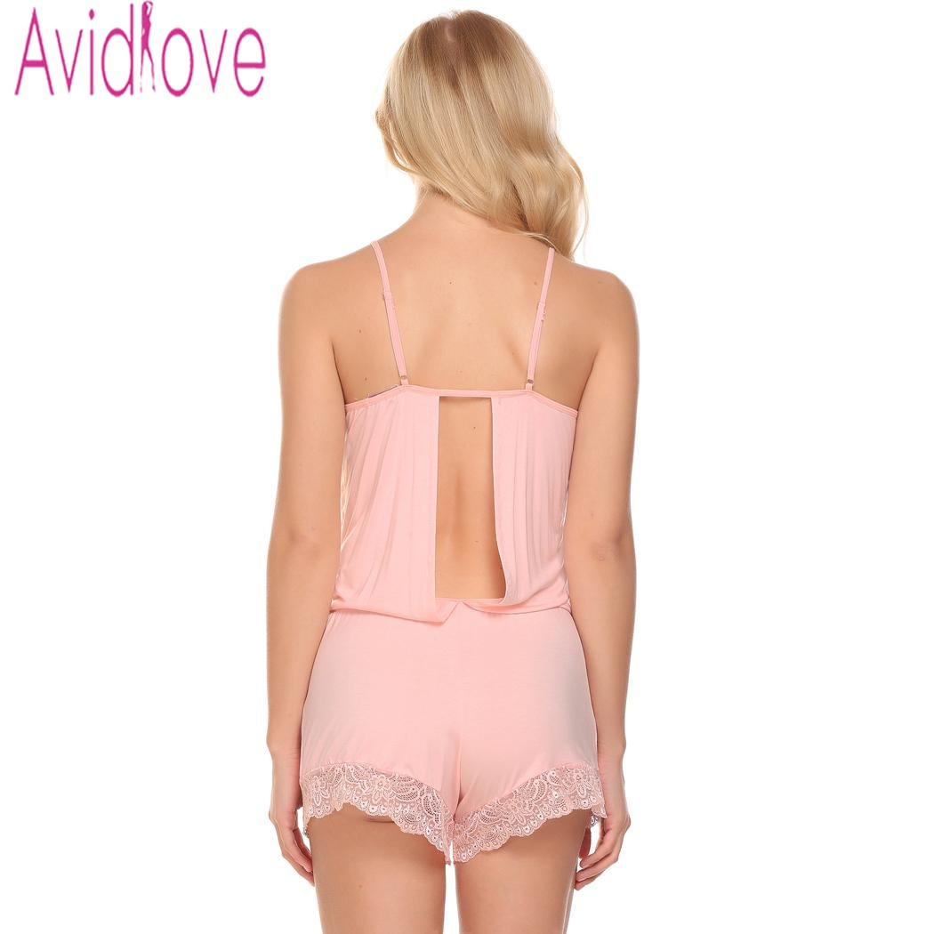 Avidlove Sexy Lingerie Spaghetti Strap Lace Trim Open Back One-Piece Romper Sleepwear Summer Home Wear Sleep Wear For Women