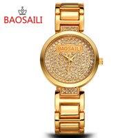 BAOSAILI Crystal Watches Luxury Brand Female Quartz Watch Women Watches Fashion Bling Bling Full Steel Strap