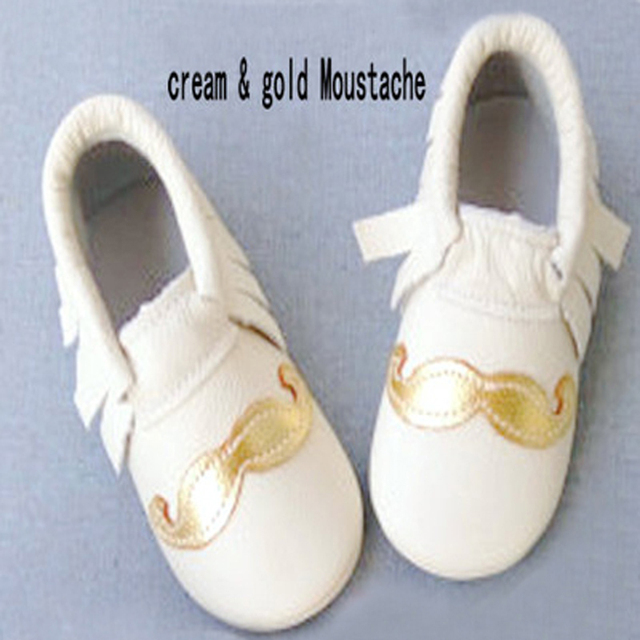 Genuine leather Moustache baby shoes girls first walker baby moccasins gold fringe Toddler Moccs Christmas gift