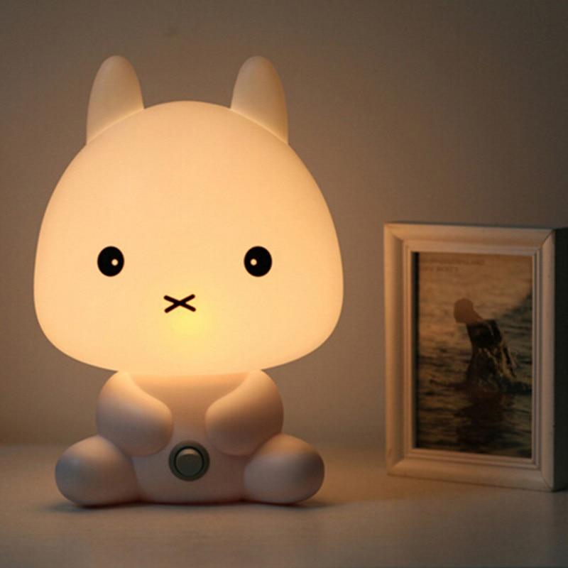 New Baby Bedroom Lamps Night Light Cartoon Pets Rabbit Panda PVC Plastic Sleep Led Kid Lamp Bulb Nightlight for Children
