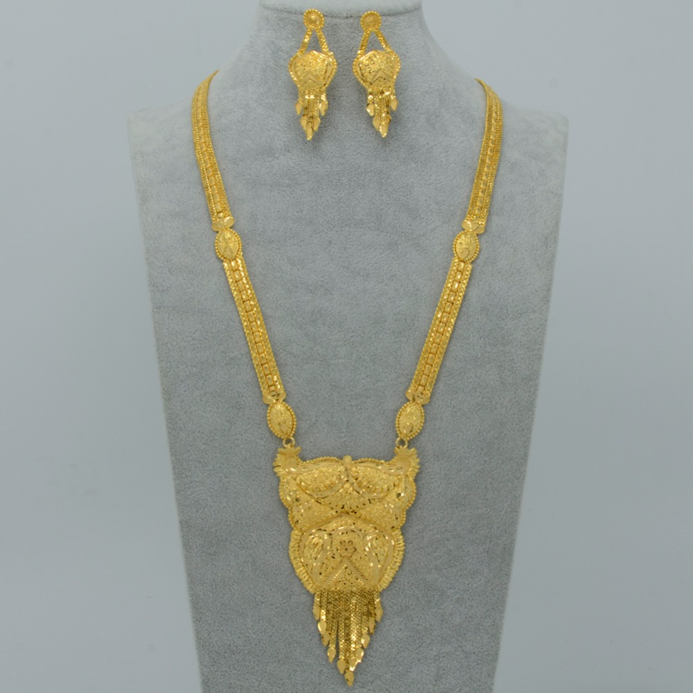 New Dubai Jewelry set 67cm Necklace Earrings Women Gold Plated