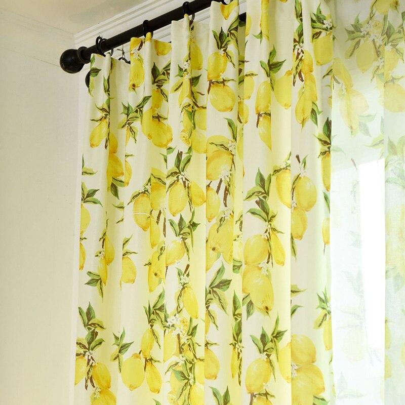 Lemon Kitchen yellow gray curtain Valance