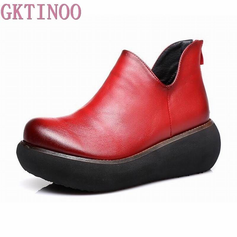 GKTINOO 2018 Spring Women High Heel Shoes Platform Wedges Pumps Genuine Leather Handmade Vintage Women Casual Shoes genuine leather shoes fashion2017 new autumn women wedges shoes high heel platforms for women casual shoes pumps elevator women