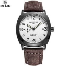 MEGIR Men Hot Sale Brand Unique Design Sports Watches Quartz Brown Strap White Dial Waterproof Wristwatch