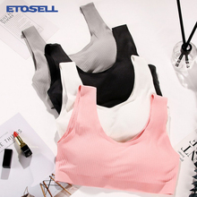 61c95442d40fe Rib Fabric Bras for Women Cotton Comfy Elastic Solid Color Padded Soft  Fitness Night Crop Tank
