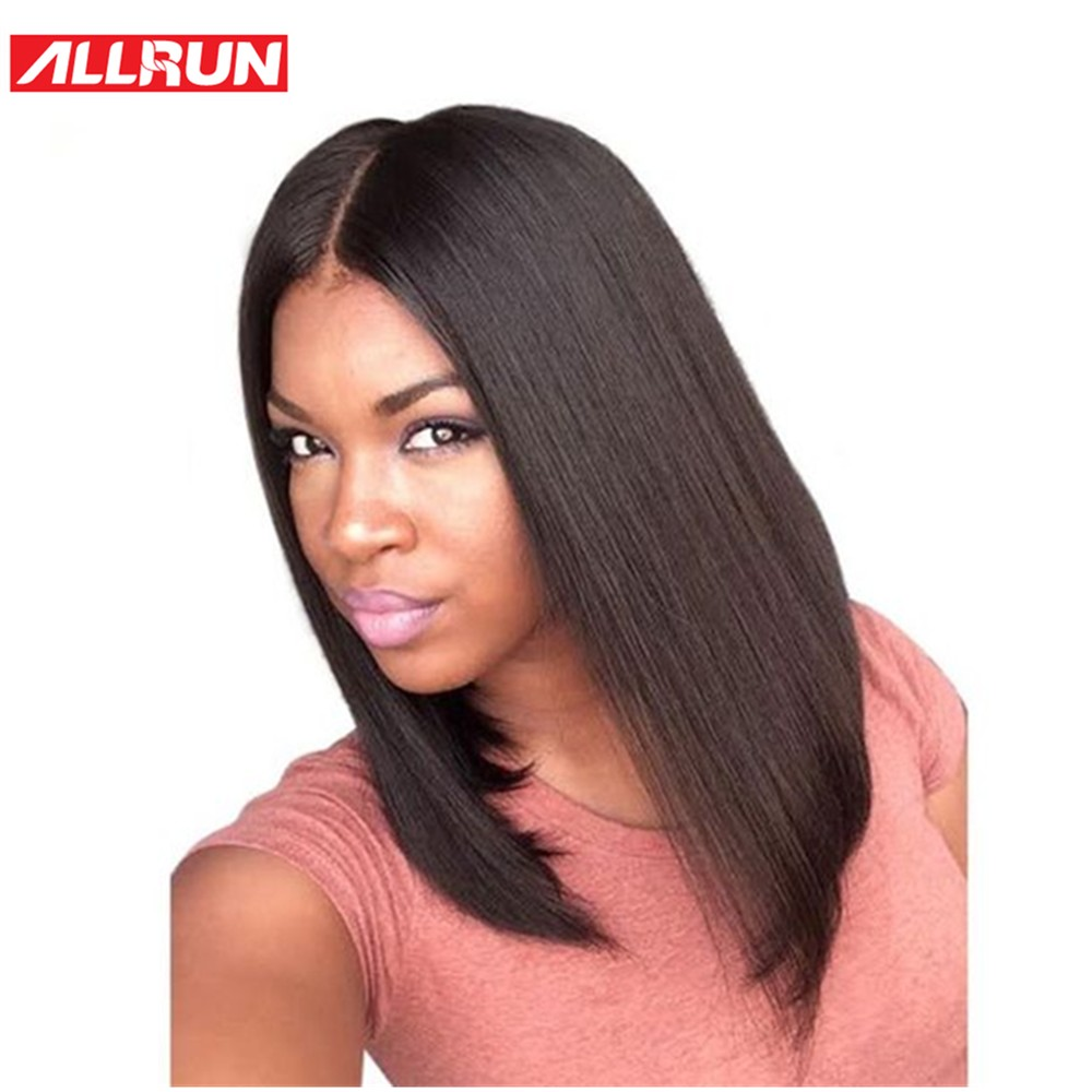 ALLRUN Hair Brazilian Non Remy Lace Front Human Hair Wigs Swiss Lace Middle Part Straight Short Bob Wig Natural Color