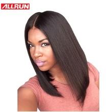ALLRUN Μαλλιά Βραζιλίας Μη Remy Swiss Lace Μεσαίο Μέρος Ευθεία Σύντομη Bob Περούκα Φυσικό Χρώμα Ανθρώπινα Μαλλιά Περούκες Full Lace