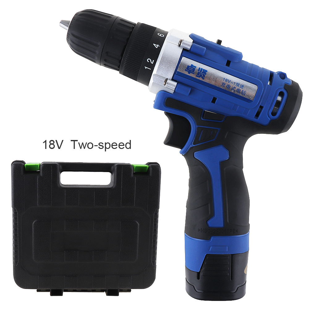 18V Multi-function Rechargeable Lithium Battery Electric Drill Home cordless Electric Screwdriver with plastic case carry box protective pc case with 5400mah rechargeable lithium battery