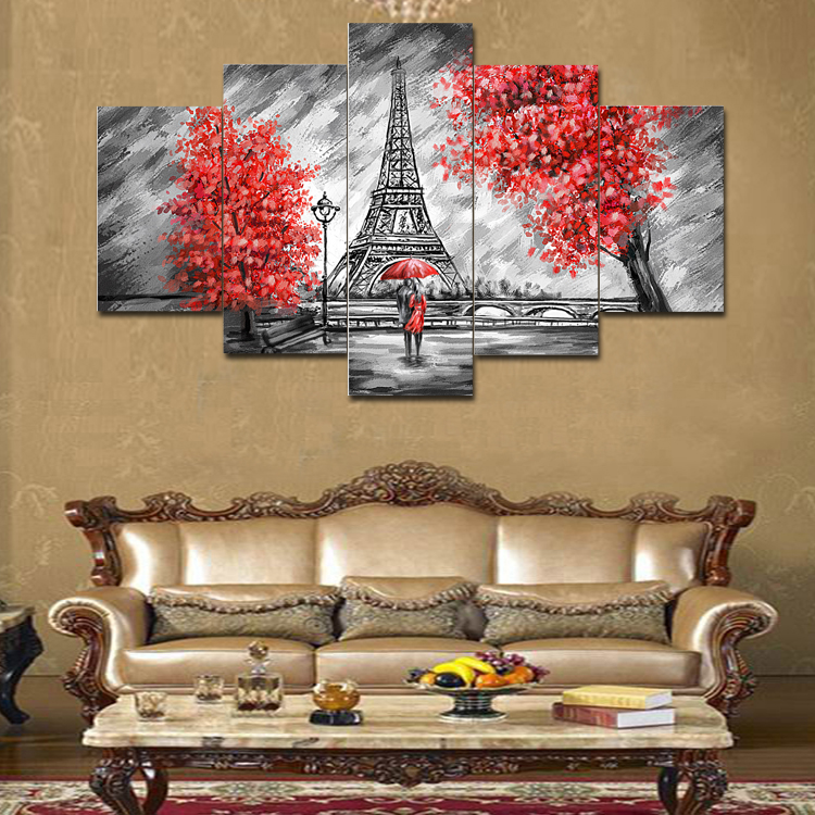Abstract Lovers Canvas Paintng Hot Cuadros Decorative 5 Pieces Unframed Modular Photo HD Tableau Wall Pictures For Living Room