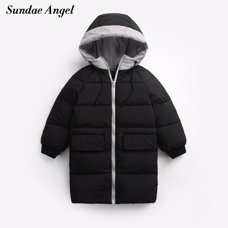 Sundae Angel Girls Down Coat 90% White Duck Down Kids Outerwear Hooded Long Boys Jacket Winter Children's Parkas Coats For 1-8 Y