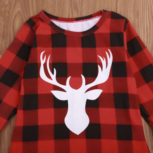 Girl Christmas Deer Buffalo Plaid Dress