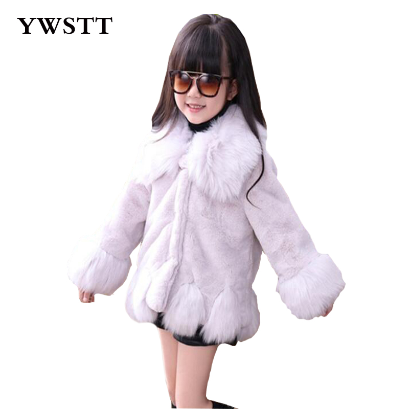 Fashion Girls Fur Coats 2017 New Baby Girls PU Leather Faux Fox Fur Jackets Winter Warm Kids Outerwear Coats new fox fur vests for girls thicken warm waistcoat children vest baby girls faux fur jackets winter kids outerwear coats 2 12y