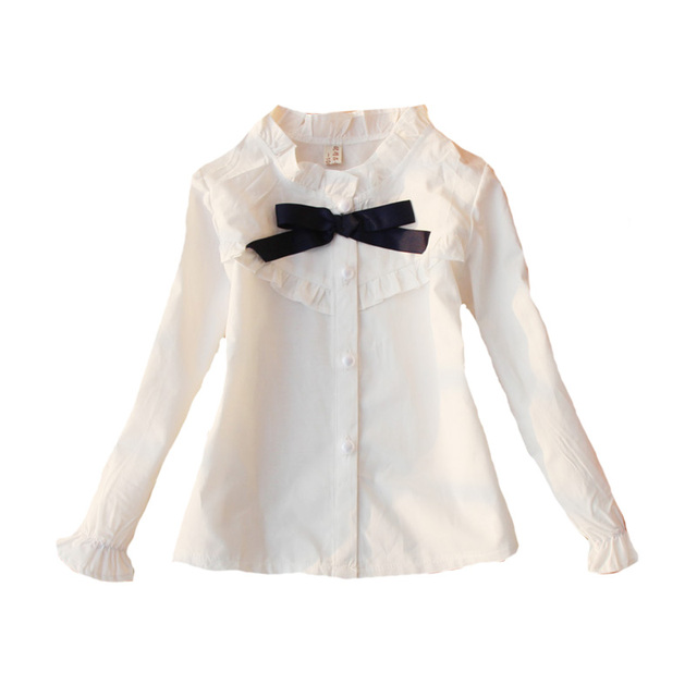 e68515afd Primavera otoño arco Camisas para Niñas estudiantes ropa manga larga blanco Blusas  niños Tops 2018 algodón