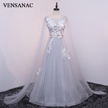 VENSANAC 2018 Crystal O Neck Lace Appliques A Line Long Evening Dresses Elegant Party Flowers Open Back Prom Gowns