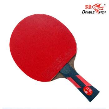Doppel fisch voraus 7AC 7 sterne tischtennis fertig schläger paddle 5 Lagen wenge holz schläger schnelle angriff mit schleife ITTF genehmigt