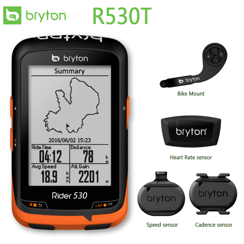 Bryton 530T GPS Bicycle Bike Cycling Computer Extension Mount with ANT+ Support Speed Cadence/Speed/ Heart Rate Monitor rider 530 c gps bicycle bike cycling computer extension mount with ant cadence sensor garmin edge200 520 820 1000 1030