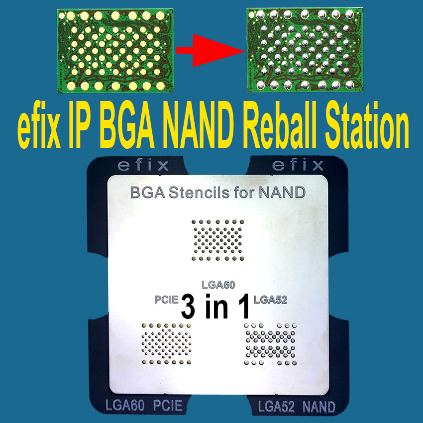 efix IP NAND BGA Reballing Stations Rework Stencils JIG Kit for iPhone iPad LGA52 60 70 PCIE HDD Chip IC Flash Repair Parts Tool latest laptop xbox ps3 bga 170pcs template bga kit 90mm for chip reballing