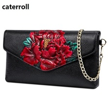 luxury handbags women bags designer shoulder bag floral print genuine leather chain bag female real leather handbag