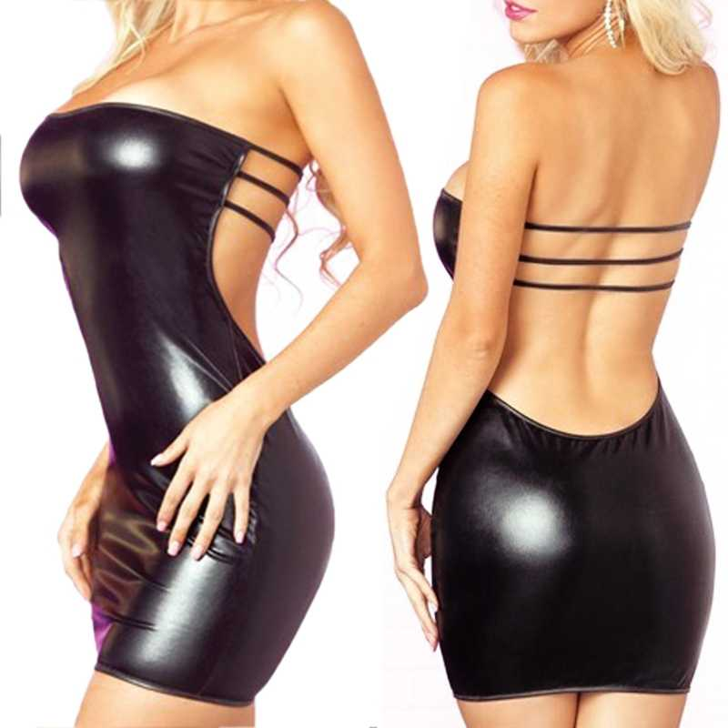 Latex Erotische Jurk Womens Sexy Cosplay Slash Hals Faux Lederen Jurk + T-back Minidress Lingerie Set Kostuums Babydoll ondergoed