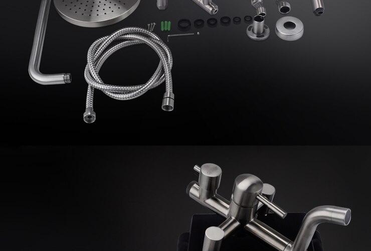 КЕС X6650B настенный смеситель для ванны с круглым однофункциональным ручным душевым и металлическим рычага рукоятки рычага для душевой системы, щетка из стали