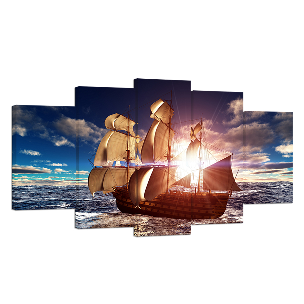 Художественный декор, Картина на холсте, 5 панелей, вид на море, лодки, фотографии мореплавания, постер для гостиной
