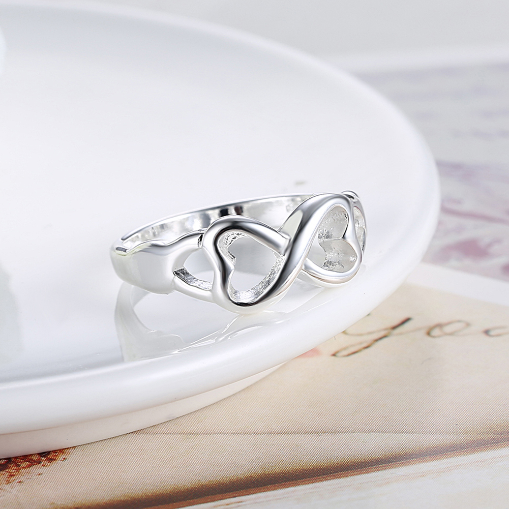 Symmetrical Heart Rings For Women Girls Kids Full Size Fashion Jewelry Silver Plated Infinity Eternity Ring Men