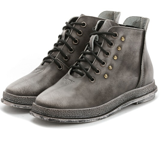ФОТО Newest 2017 woman's martin boots shoe genuine cow leather lace-up rivets female ladies high quality short boot PR1460 black grey