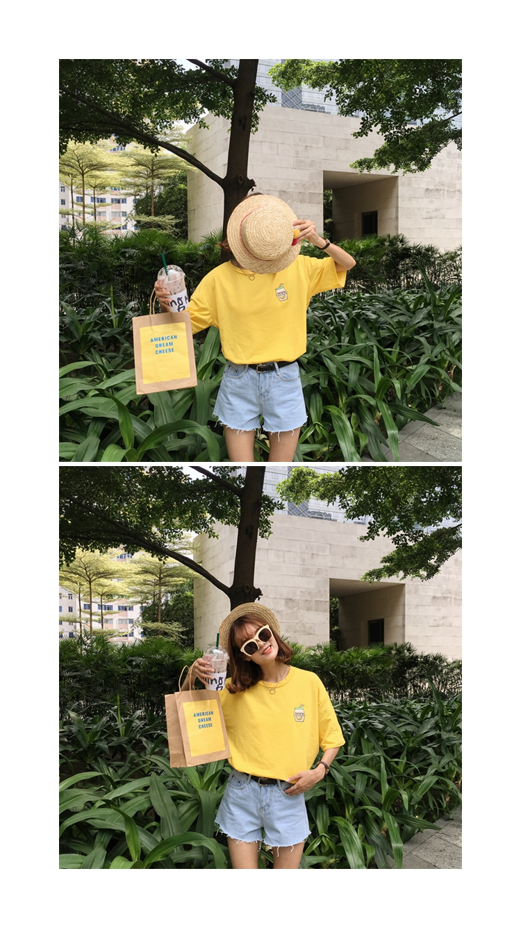 HTB16 QLKFXXXXb4XpXXq6xXFXXXF - Summer New Cute Banana Milk Embroidered T-shirts PTC 192