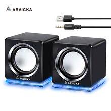 ARVICKA Проводные мини компьютерные колонки светодиодный USB 2,0 PC динамик s для ноутбука настольного телефона 6 Вт Мощный обновленный мультимедийный динамик