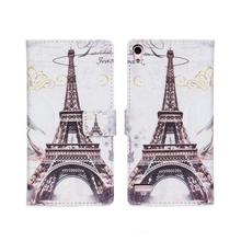 Retro Fashion Statue of Liberty Eiffel Towel Flower Leather Wallet Mobile Phone Cover Case For Huawei Ascend P6