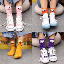 цена Autumn thin pile of socks Korea 3d stereo eye socks college long socks female cotton socks