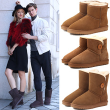 Casual classic warm wear-resistant anti-slip Genuine Leather mens snow boots leather fabric and wool winter womens shoes