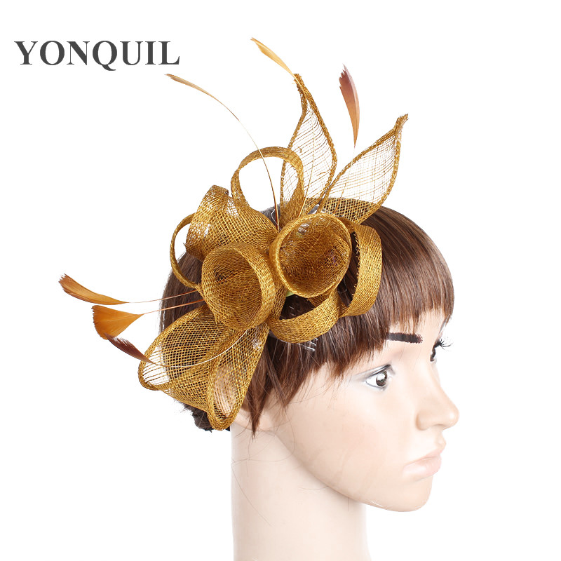 Elegant Women Gold Hair Fascinator Hats On Hair Comb Ladies Fancy Feather Wedding Hair Accessories Multiple Colors Select SYF231