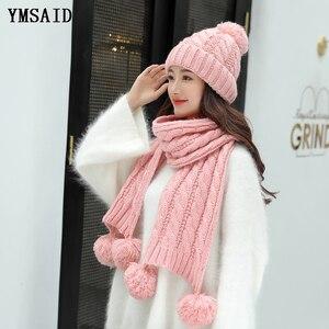 Image 2 - Ymsaid ผู้หญิงฤดูหนาวหมวกผ้าพันคอชุดขนสัตว์ถักหมวกขนสัตว์ PomPom หมวกสำหรับหมวกผู้หญิง Lady Bonnet หนาหมวกสกีคอ