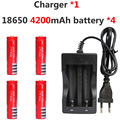 4 unids 18650 3.7 v 4200 mah Recargable Li-ion Batería De Alta Capacidad + Cargador de Linterna Led de Alimentación Dual NK-809 banco