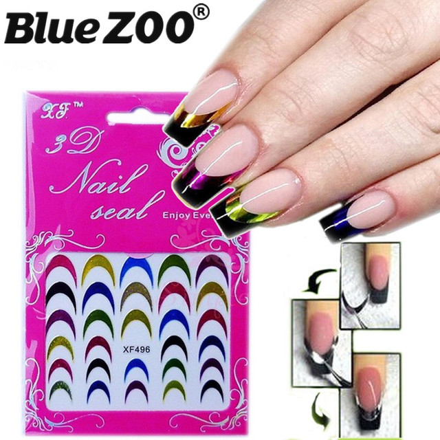 Hot 5 Stkspartij Glitter Nail Art Decoraties Stickers Kleurrijke