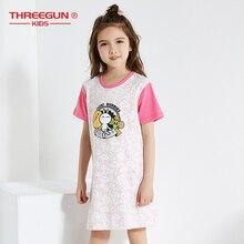 THREEGUN/Ночная рубашка; детская одежда; летние платья; пижамы для маленьких девочек; хлопковая ночная рубашка; Детская домашняя одежда для девочек; ночные рубашки