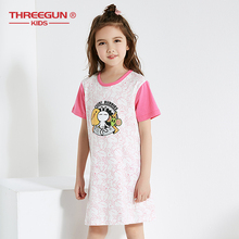 THREEGUN Nightgown Children Clothing Summer Dresses Girls Baby Pajamas Cotton Nightdress Kids Home Girl Sleepwear Nightgowns недорого