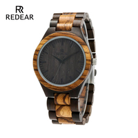 REDEAR Top Quality Wood men watch automatic Zebra Wood and Ebony Black Watch the Best Gift for Man