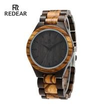 남자를위한 REDEAR 최고 품질의 나무 시계 나무 패션 브랜드 디자이너 얼룩말 나무와 에보니 시계