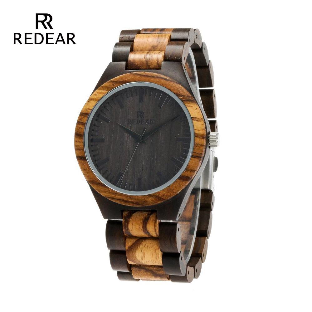 REDEAR Top Quality Wood Watch til mænd Wooden Fashion Brand Designer - Dameure - Foto 1