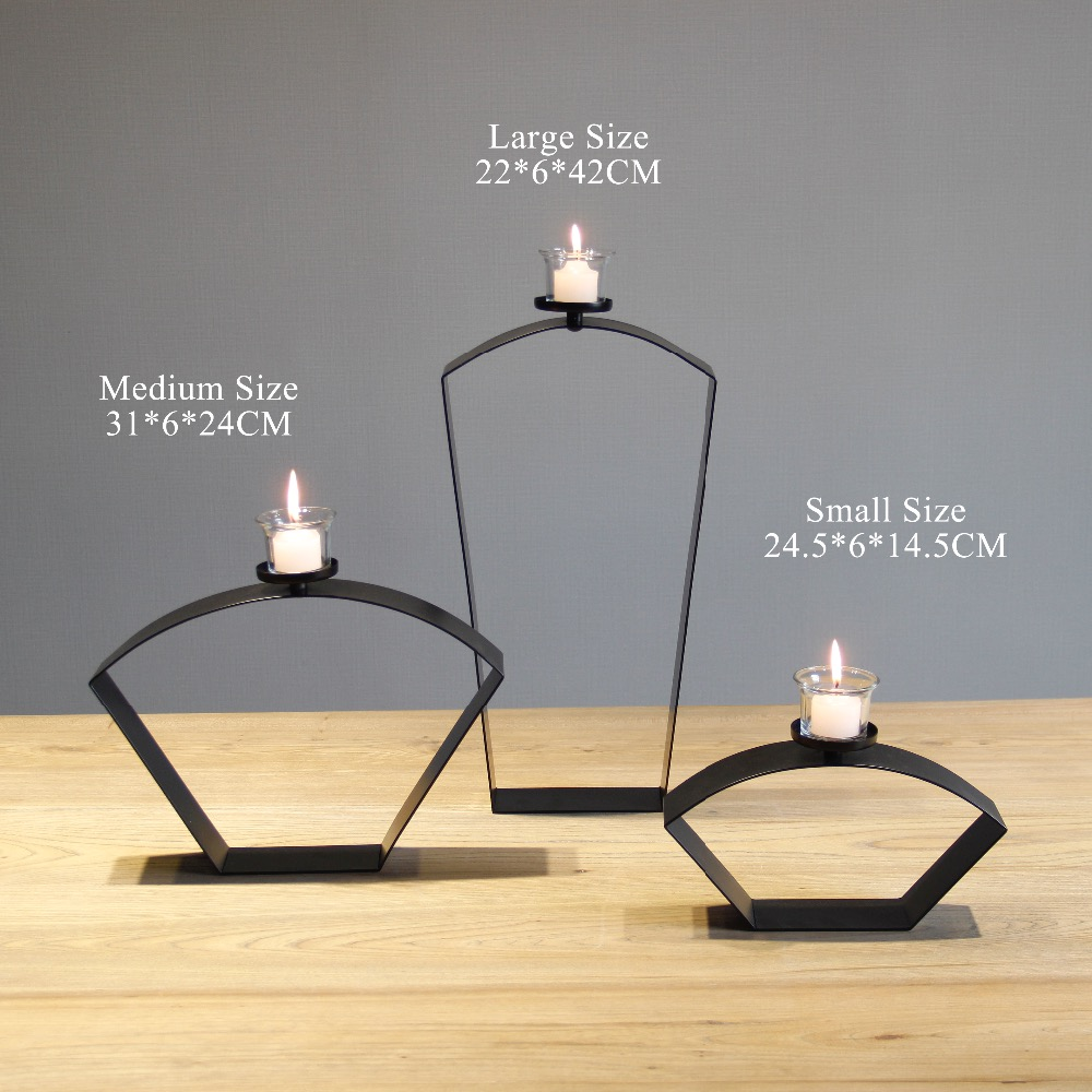 chinese style sector black metal tabletop simple candle holder iron