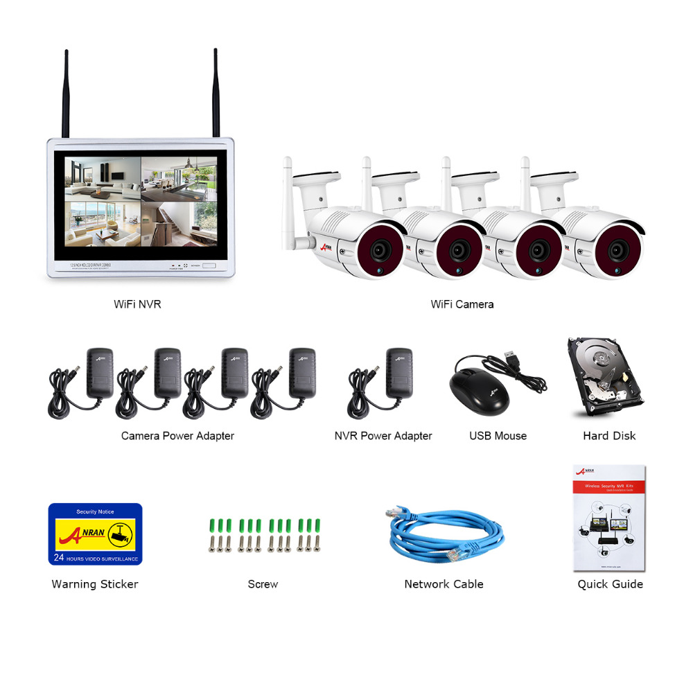 "Image 5 - ANRAN 4CH Wifi CCTV Camera System 12"" LCD NVR Kit 1080P HD Night Vision Surveillance IP Camera Outdoor Security Camera System-in Surveillance System from Security & Protection"