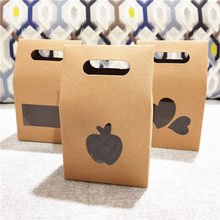Gift Box Kraft Paper Brown DIY Handmade Apple Shape PVC Window Lovely Standing Up Paper Cases Boxes Handle Portable 20Pcs/Lot(China)