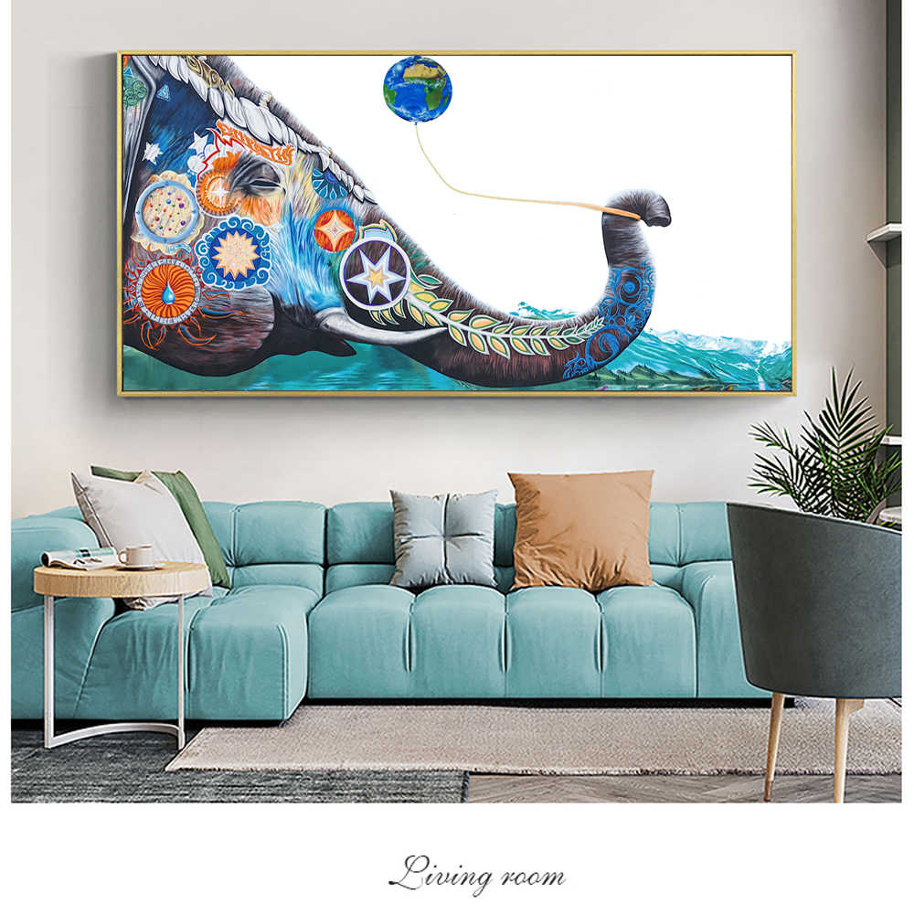 Colorful Elephant Street Wall Art Canvas Prints Modern Animals Wall Pictures For Living Room Graffiti Pop Art Paintings Cuadros