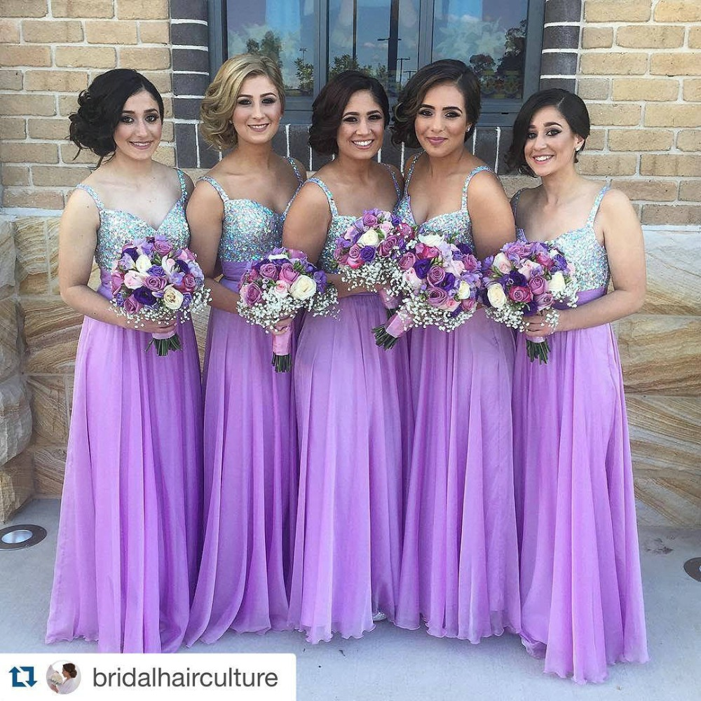 Beautiful Purple Bridesmaid Dresses with Spaghetti Straps Chiffon ...