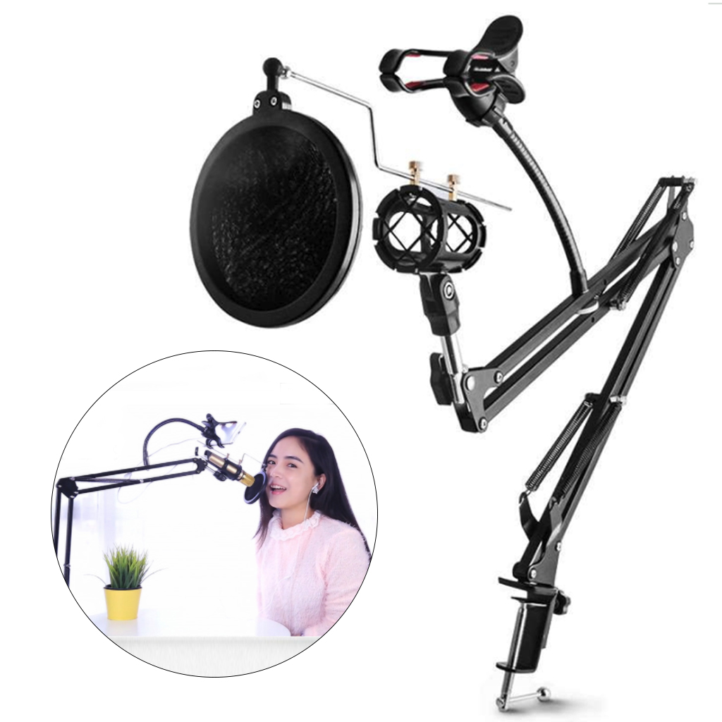 DYY Microphone Scissor Arm Stand and Table Mounting Clamp NW Filter Windscreen Shield Metal Mount Kit