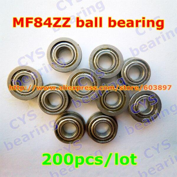 200pcs lot MF84ZZ MF84ZZ 4X8X3mm 4 8 3mm MF84 2Z flanged radial shaft steel ball bearing