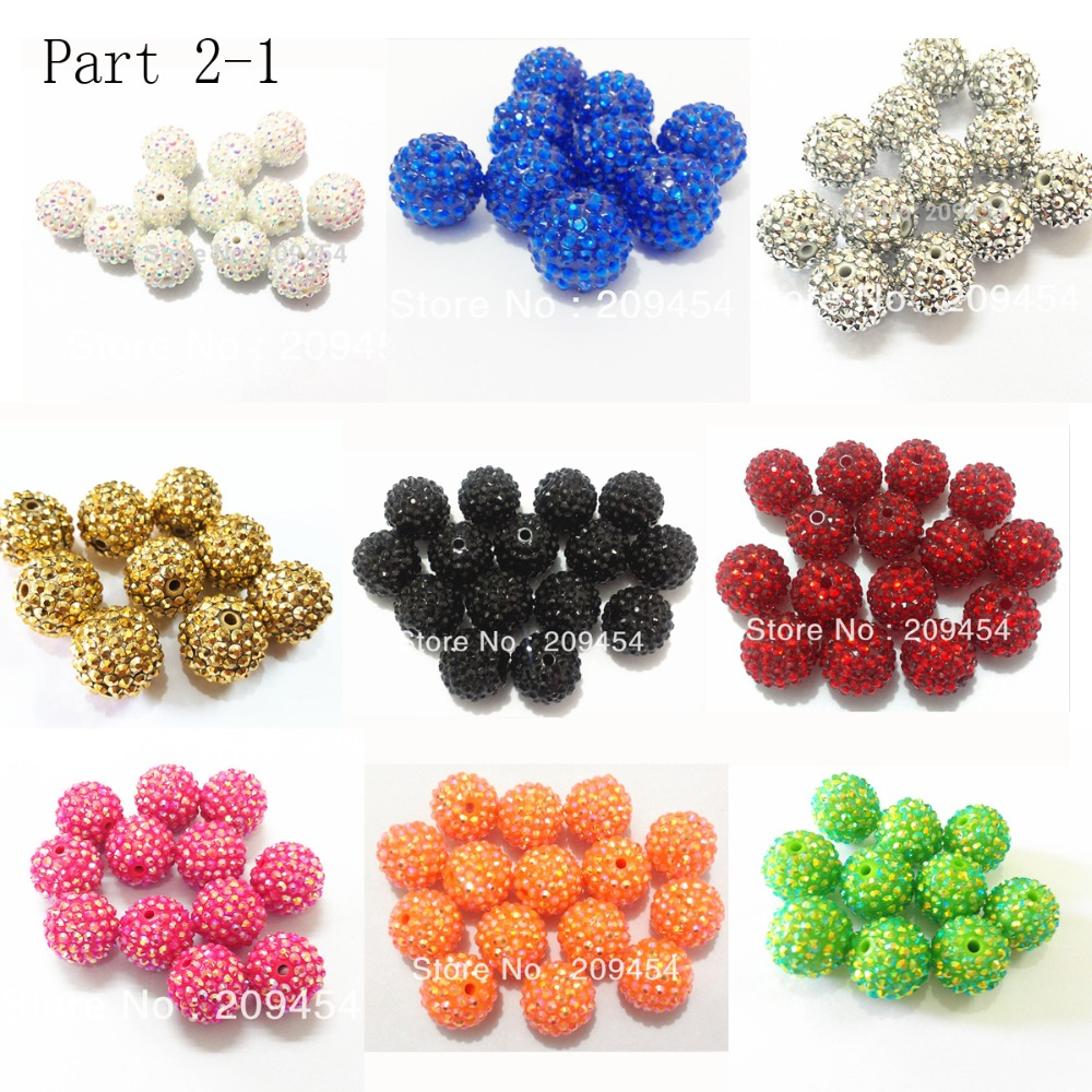 Wholesale Part 2-1, 12mm-14mm-16mm-18mm-20mm  Chunky Resin RhinestoneBall Beads For Fashion Chunky Jewelry